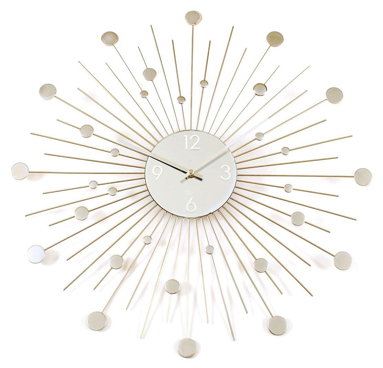 amazoncom starburst retro wall clock silver home  kitchen -
