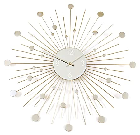 Ashton Sutton Silver Disc and Mirror Starburst Wall Clock Amazonco