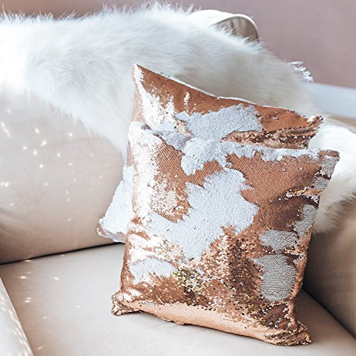 16x16 Mermaid Pillow with Insert Sparkling Champagne Gold with Flip Sequin Throw Pillow Mermaid Magic Glitter Reversible Color Changing Decorative Pillow Shams Dorm Room Decor for Sofa Comfy