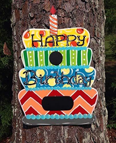 (Ruskin352 Birthday Door Hanger Cake Door Hanger Chalkboard Birthday Cake Door Hanger Party Door decorwooden Door Hanger Wood Sign Gift)