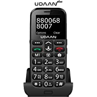 SENIOR WORLD-Udaan with Cradle Charger - Dual Sim Phone with 1.77inch Screen and Over 20 Senior Friendly Features … (Black, with Cradle)