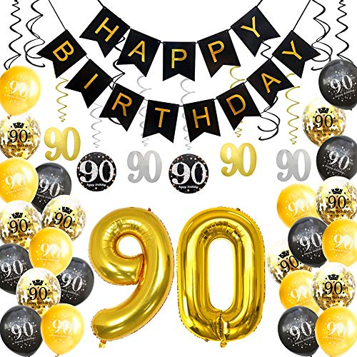 Happy 90th Birthday Balloons (HankRobot 90th Birthday Decorations Party Supplies(42pack) Gold Number Balloon 90 Happy Birthday Banner Latex Balloons(Black, Golden) Confetti Balloons -Great for 90 Ninety Years Old Birthday)