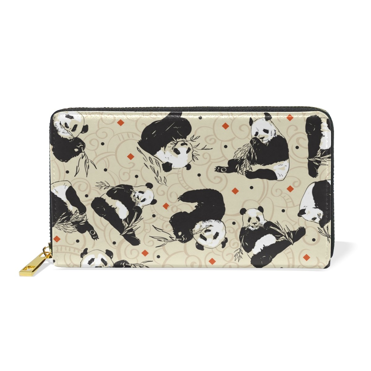 LAVOVO Cute Pandas Bamboo Womens Clutch Purses Organizer And Handbags Zip Around Wallet