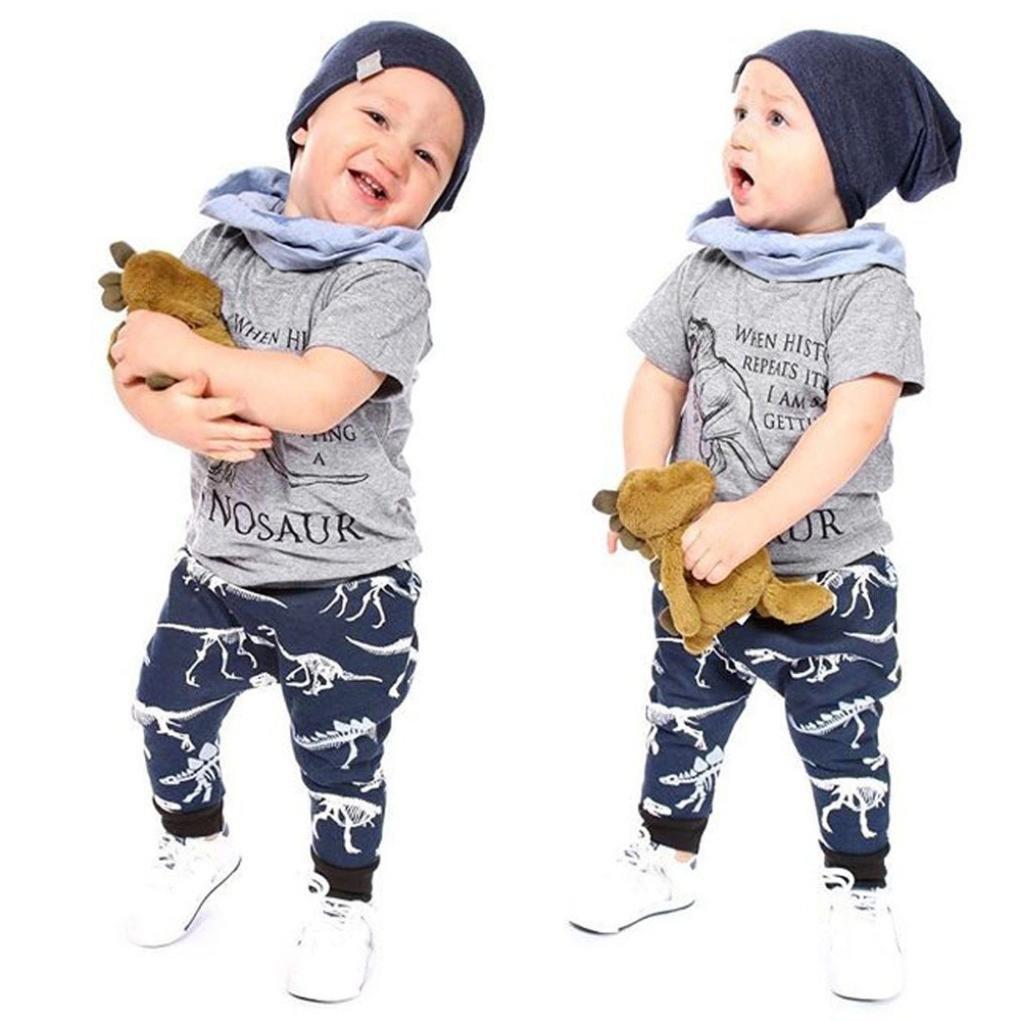 3c68d7b6fc10 Toddler Baby Cute Dinosaur Print Clothes 2PCS Set Size 18M-5T, Short Sleeve  Top T-Shirt + Pants