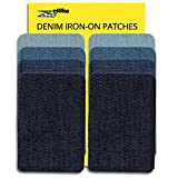 jeans repair kit - ZEFFFKA Premium Quality Denim Iron On Jean Patches No-Sew Shades of Blue 8 Pieces Cotton Jeans Repair Kit 2.2