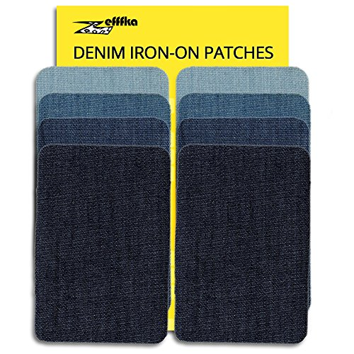 Jeans Sewing Patch - ZEFFFKA Small Premium Quality Denim Iron On Jean Patches No-Sew Shades of Blue 8 Pieces Cotton Jeans Repair Kit 2