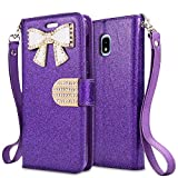 For Samsung Galaxy J3 (2018), J3 Achieve, J3 Star, Express Prime3, Amp Prime3, J3/J3V 3rd Gen SM-J337 Case,PU Leather Rhinestone Wallet Flip Phone Protective Case with Card Slots (WBL Purple)