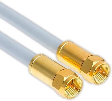 weiss doppelt abgeschirmt für digital 2x F-Stecker koax 0,5m SAT-KABEL