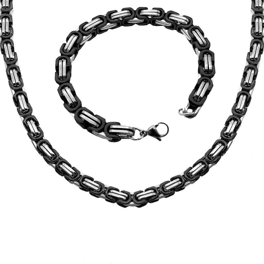 Set collana bracciale catena in acciaio collana a maglia spessa colore argento nero 60 cm/22 cm tumundo K22 Set 5/60 schwazsilfba