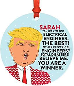 Andaz Press Personalized Name Round Natural Wood MDF Funny Keepsake President Donald Trump Sweater Christmas Tree Ornament, You are a Terrific Electrical Engineer, 1-Pack