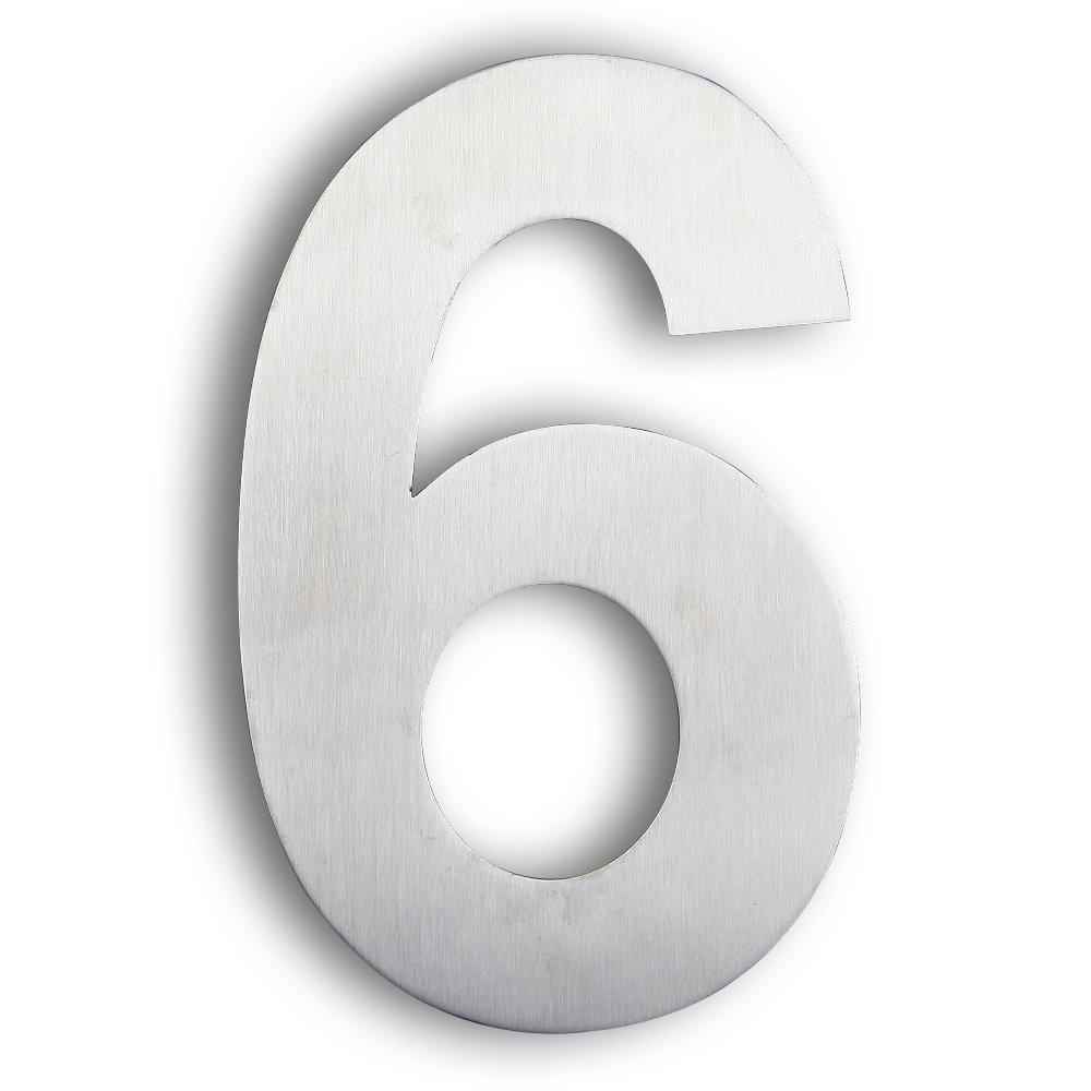 Mellewell Modern House & Door Number Stand-Out Numerals 8 inch Stainless Steel Brushed Nickel, Number 6 Six, HN08-6