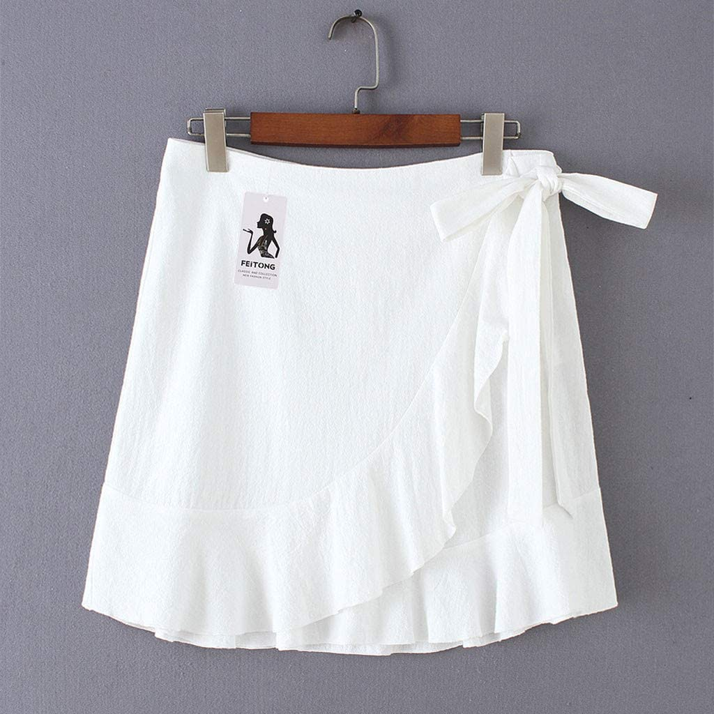 Nevera Women Elegant Mid Waist Above Knee Ruffle Hem Casual Skirt