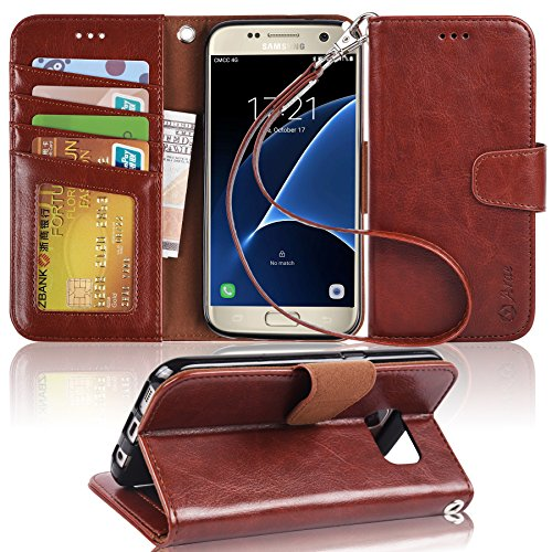 Arae Galaxy s7 Case, [Wrist Strap] Flip Folio [Kickstand Feature] PU leather wallet case with ID&Credit Card Pockets For Samsung Galaxy S7 (brown) by Arae