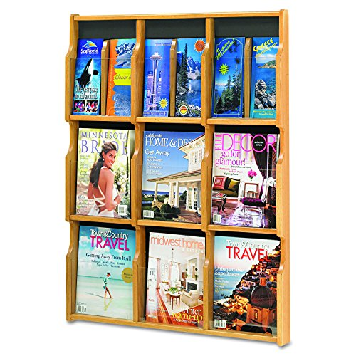 Safco Products 5702MO Expose Literature Display, 9 Magazine 18 Pamphlet, Medium Oak/Black -