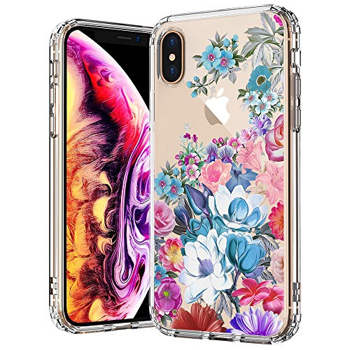 MOSNOVO iPhone Xs MAX Case, iPhone Xs MAX Case Clear, Peony Floral Flower Garden Pattern Printed Clear Design Transparent Plastic Back Case with TPU Bumper Gel Protective Case Cover for - Garden Floral Flower
