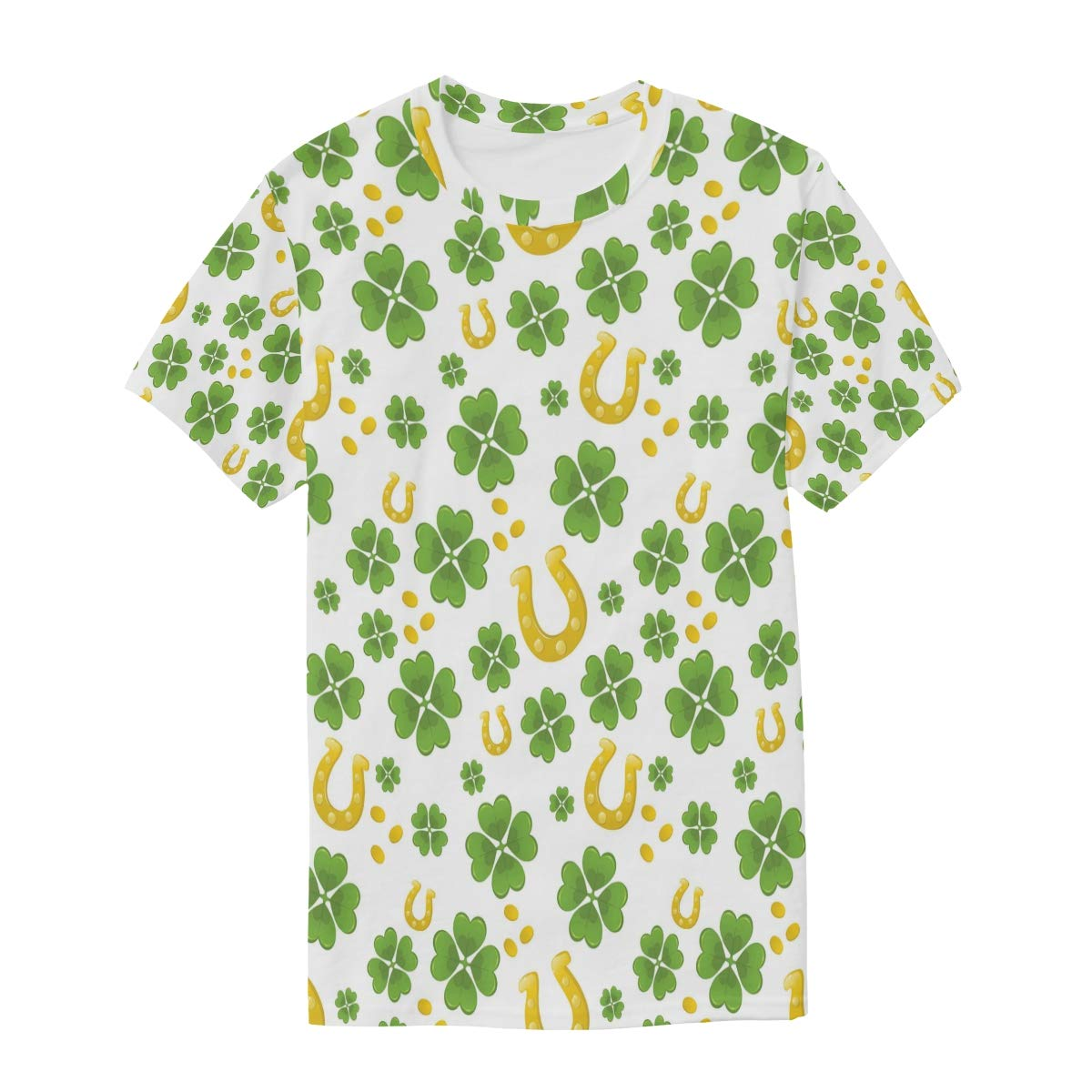 Horatiood Huberyyd St Patricks Day Stickers Mens T Shirts Graphic Funny Body Print Short T-Shirt Unisex Pullover Blouse
