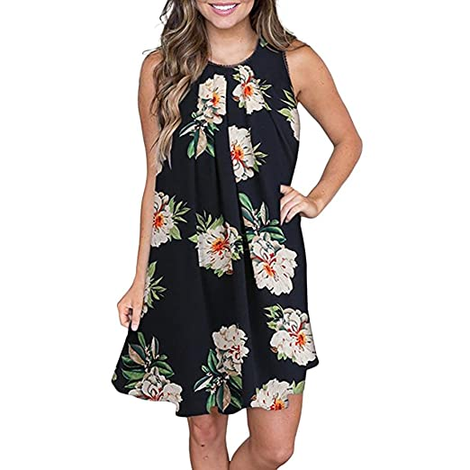 78bfd5ff5c28 DIANA'S Dress, Women Sexy Printing Buttons Off Shoulder Sleeveless Princess  Dress at Amazon Women's Clothing store: