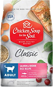 Chicken Soup for The Soul Pet Food - Adult Dry Cat Food, Salmon & Brown Rice Recipe, 4.5 lb. Soy, Corn & Wheat Free, No Artificial Flavors or Preservatives