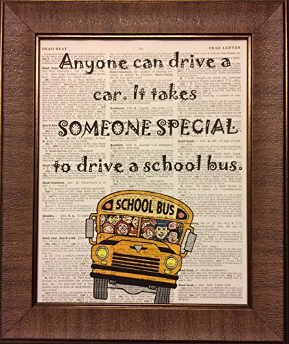 School Bus Driver Quote Dictionary Book Page Artwork Print Picture Poster Home Office Bedroom Nursery Kitchen Wall Decor - unframed