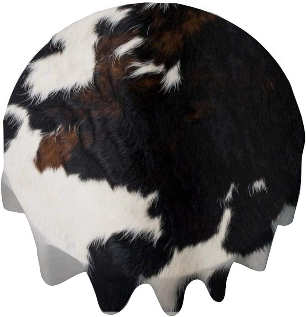 yyone Tablecloth Round 50 Inch Table Cover Cowhide Leather Table Cloth Decor for Buffet Table, Parties, Holiday Dinner, Wedding & More