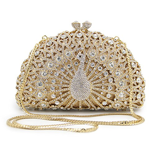 Flada Peacock Bags Party Light Luxury Clutch Rhinestones Womens Evening for Shape Purse Gold Hollow rUpxqr16A