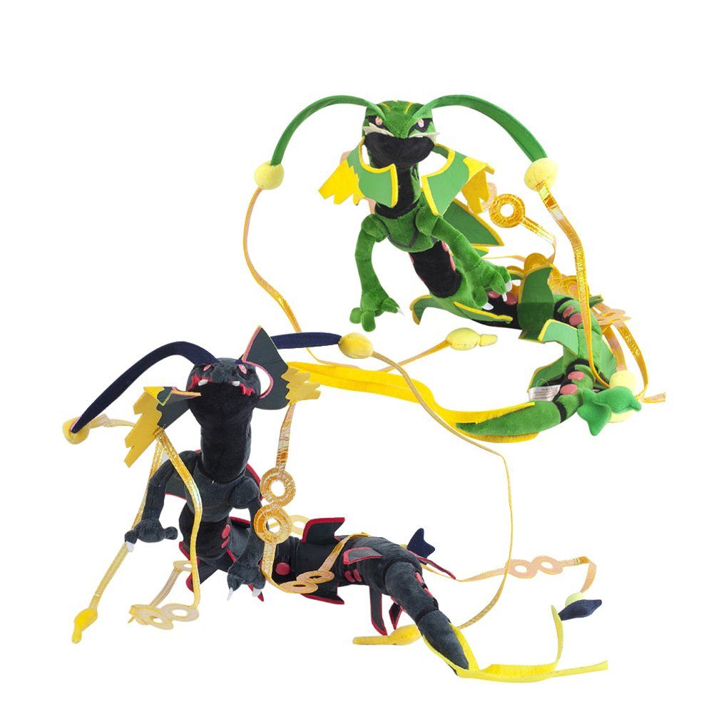 Cuddly-store Set of 2 Black and Green Shiny Mega Rayquaza Soft Stuffed Dolls Plush Toys - 34 Inch by Cuddly-store