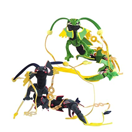 Cuddly-store Set of 2 Black and Green Shiny Mega Rayquaza Soft Stuffed  Dolls Plush Toys - 34 Inch