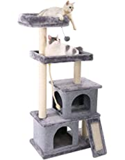 PAWZ Road Cat Tree Multilevel and Luxury Cat Towers 50 Inches with 2 Condos, Spacious Perches, Scratching Post, Dangling Balls and Ramp Gray