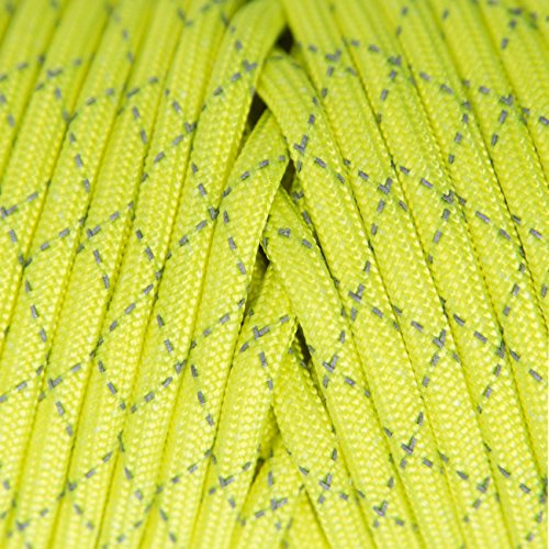 TOUGH-GRID New 700lb Double-Reflective Paracord/Parachute Cord - 2 Vibrant Retro-Reflective Strands for The Ultimate High-Visibility Cord - 100% Nylon - Made in USA - 200Ft. Neon Yellow Reflective by TOUGH-GRID (Image #2)