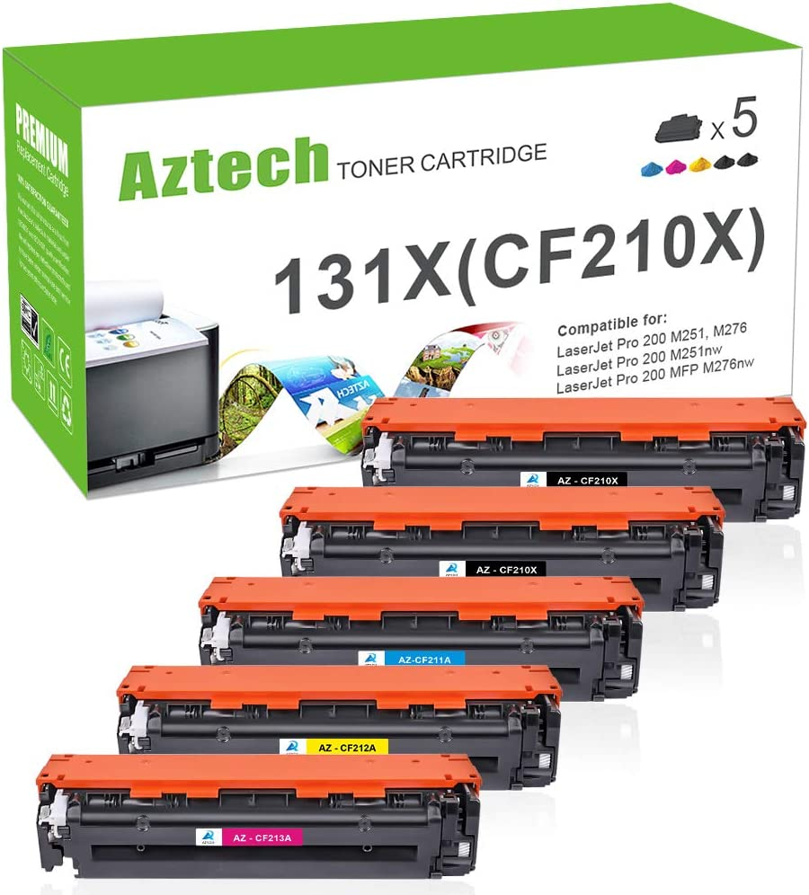 Aztech Compatible Toner Cartridge Replacement for HP 131A CF210A 131X CF210X Laserjet Pro 200 Color M251nw M276nw M251n MFP M276n MF8280Cw CF211A CF212A CF213A Toner Cartridge Ink (KCMY, 5-Pack)
