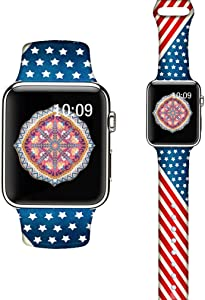 LAACO Silicone Sport Bands Compatible with Apple Watch 44mm for Women, Floral Sport Band, Bar Flag Fadeless Pattern Printed Replacement Strap Bands Compatible with iWatch 42mm Series 5 4 3 2 1
