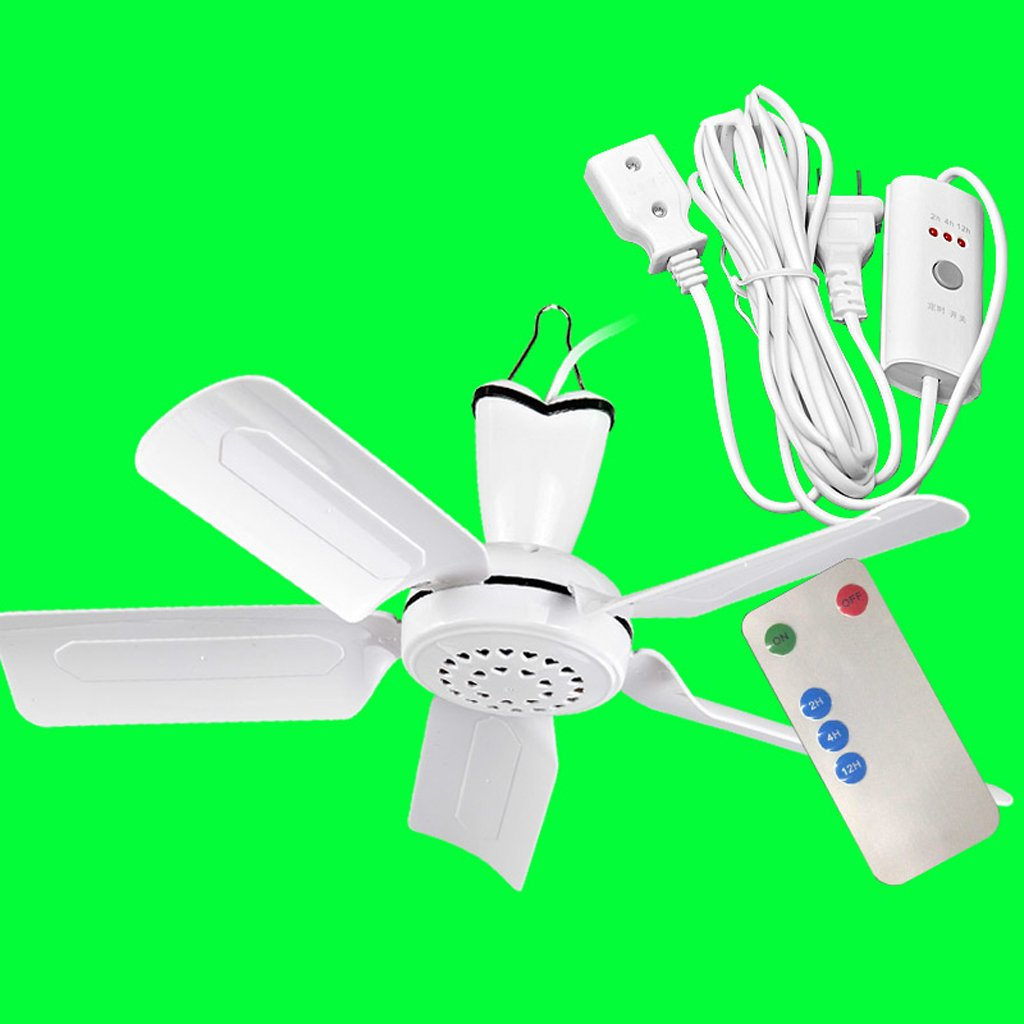 Liuyu · Ceiling Fan Dormitory Bed Mosquito Net Mute Small Ceiling Fan Home Small Mini Fan Student Five-leaf Micro Fan Safe, Silent, Energy-saving And Energy-saving Standard Wiring Length 1.5m + 3M Extension Line + Remote Control / Timing ( Size : Five lea