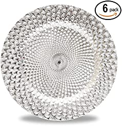 Fantastic) 6pcs/Set New Claassic Design Round 13\ x13\  Charger Plates with Shinny Finish (Peacock Silver)  sc 1 st  Amazon.com & Amazon.com: Plastic - Charger \u0026 Service Plates / Plates: Home \u0026 Kitchen