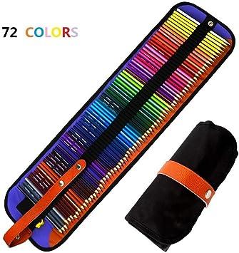 Jhua - Juego de lápices de colores con estuche de nailon y lápices de colores para adultos, niños, artistas (72 unidades): Amazon.es: Electrónica