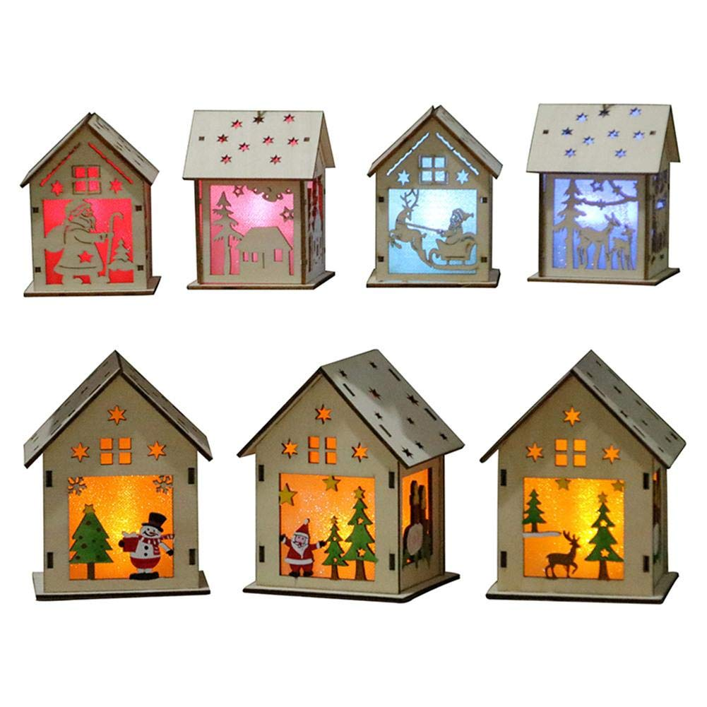 GOBEAUTY Christmas Decorations, LED Light Wood House, Christmas Tree Hanging Ornaments,Festival Gift Wedding Decoration (7 Pack)