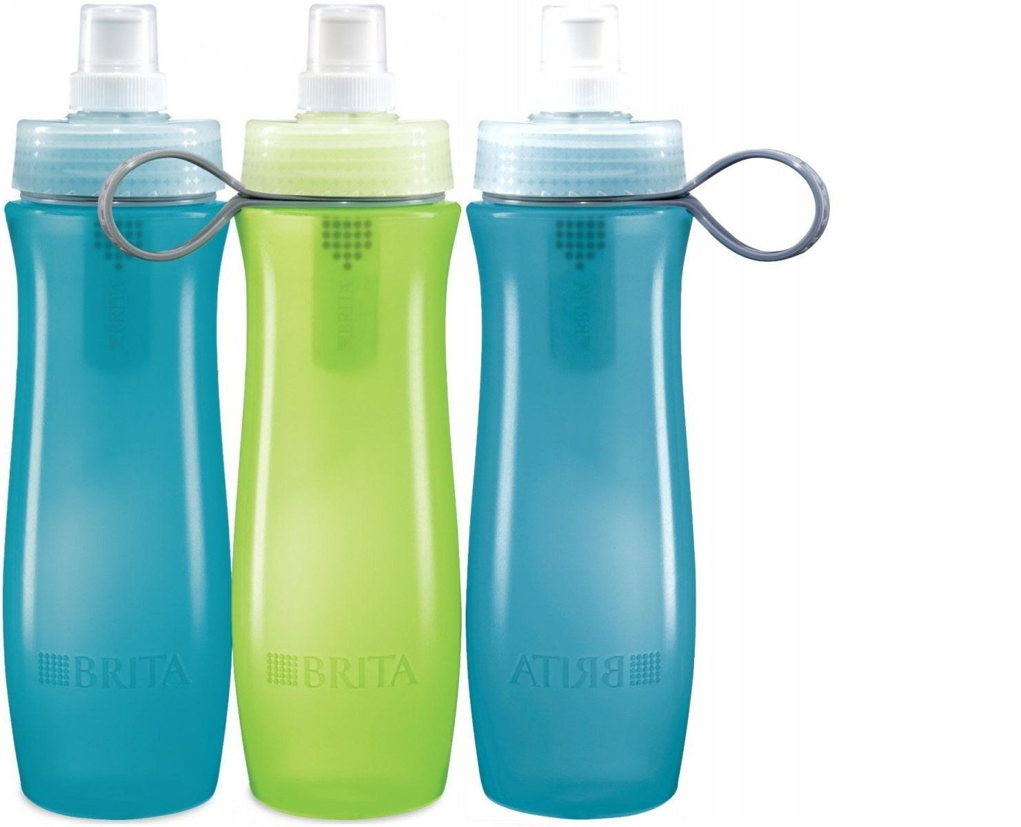 Brita Bottle Water Filtration System ~ Three 20oz Reusable Sports Bottles with 6 Filters Included 153660.001pl