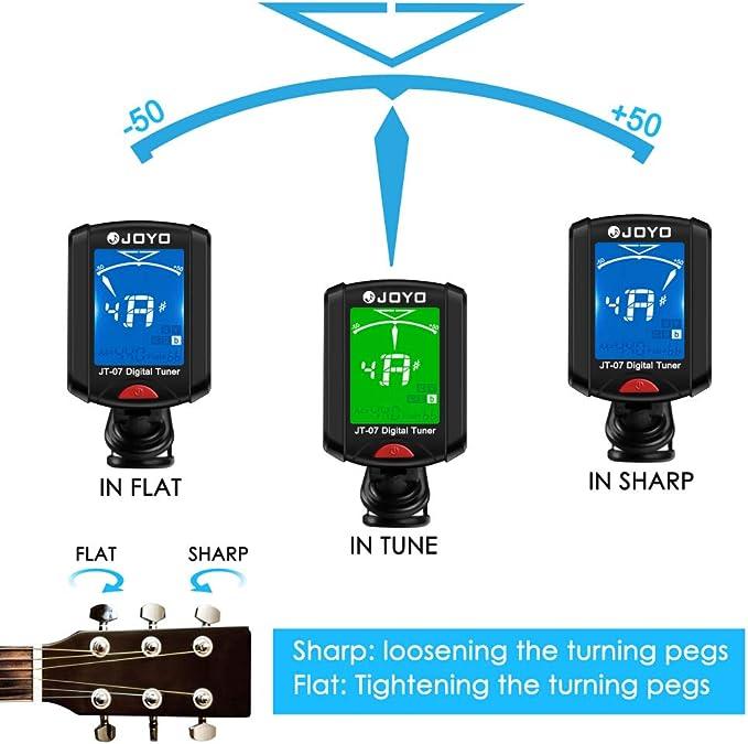 Electronic Tuner ABEDOE Clip On Chromatic Tuner Guitar Violin Bass Banjo Ukulele OUD Tuner JT-01