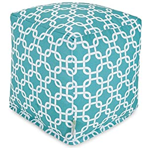 "Majestic Home Goods Links Indoor / Outdoor Bean Bag Ottoman Pouf Cube, 17"" x 17"" x 17"" (Teal)"