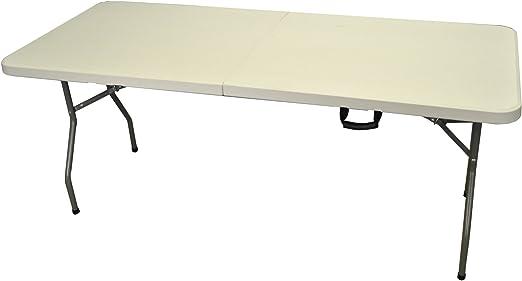 Mesa plegable con caballetes (180 cm), color blanco: Amazon.es ...