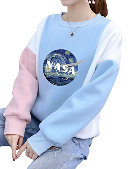 28953fca3182ed Amazon.com  Womens NASA Sweatshirts Pullover Clearance Teen Girls Patchwork  Raglan Sweater Jumper Jacket Shirt Tops  Clothing
