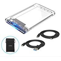 """ELUTENG Hard Drive Enclosure 2.5 USB Type C 3.1(Gen 1 UASP Supported High Speed Hard Drive Caddy, 2.5"""" SSD/HDD Enclosure Caddy (fit 9.5mm & 7mm) Tool Free, Compatible with Mac OS/Windows/Linux"""