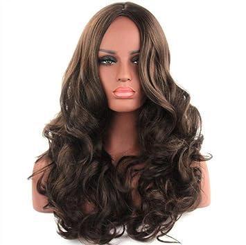 FA Pelucas onduladas marrones - pelucas largas naturales, mullidas y de moda para las mujeres
