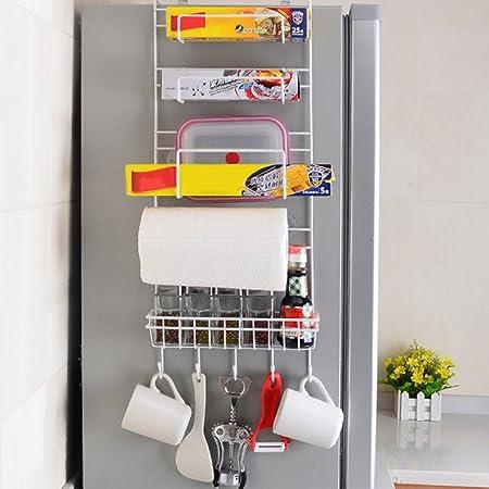 Estante lateral para nevera almacenamiento de frigor/ífico de m/últiples capas organizador de suministros de cocina multifuncional para el hogar soporte de pared lateral