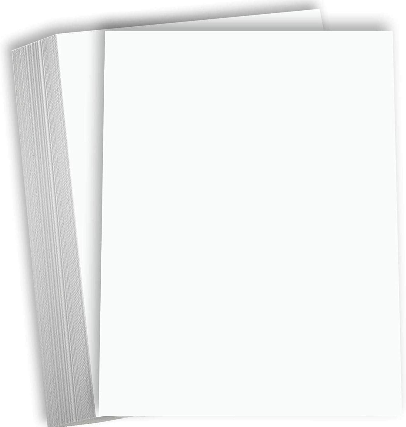 """Hamilco White Cardstock Thick Paper 8 1/2 x 11"""" Blank Heavy Weight 80 lb Cover Card Stock - 100 Pack"""