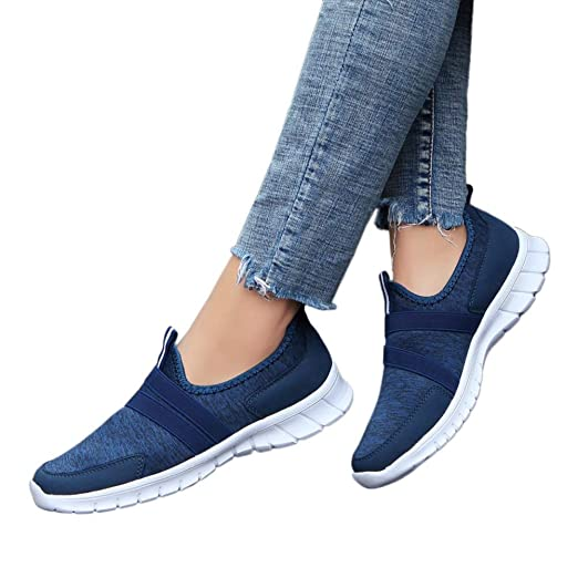 1b56bf1404ec Unisex Women Men Walking Tennis Shoes Lightweight Athletic Sport Gym Slip on  Sneakers by Lowprofile Dark