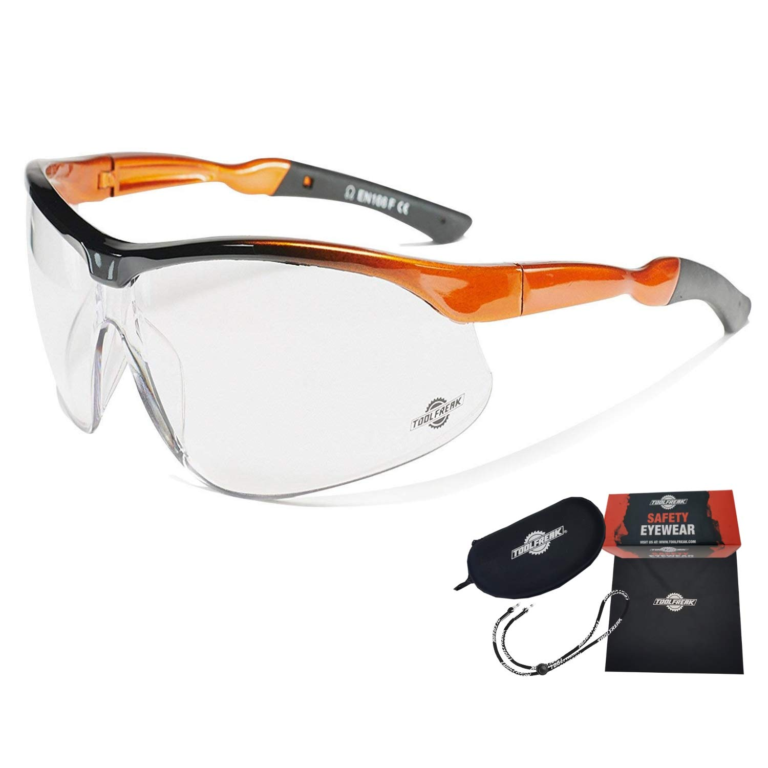 ToolFreak Agent Work & Sports Safety Glasses with Distortion Free Clear Wraparound Lenses, ANSI z87+ Rated, Impact & UV Protection, Hard Case & Cloth + Neck Cord