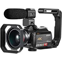 4K Camcorder ORDRO 4K Ultra HD WiFi Video Camera 12x Optical Zoom 3.1 Inches IPS Touchscreen Camcorder with Microphone Wide Angle Lens Hood and Hand-held Holder