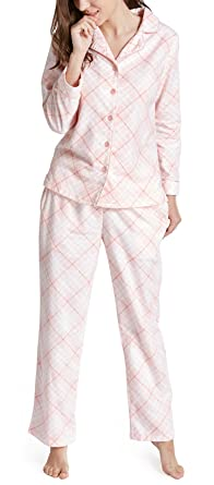 100% Cotton Pajamas Set for Women - Flannel Long Sleeve Woman Pajama ... 43322a79c