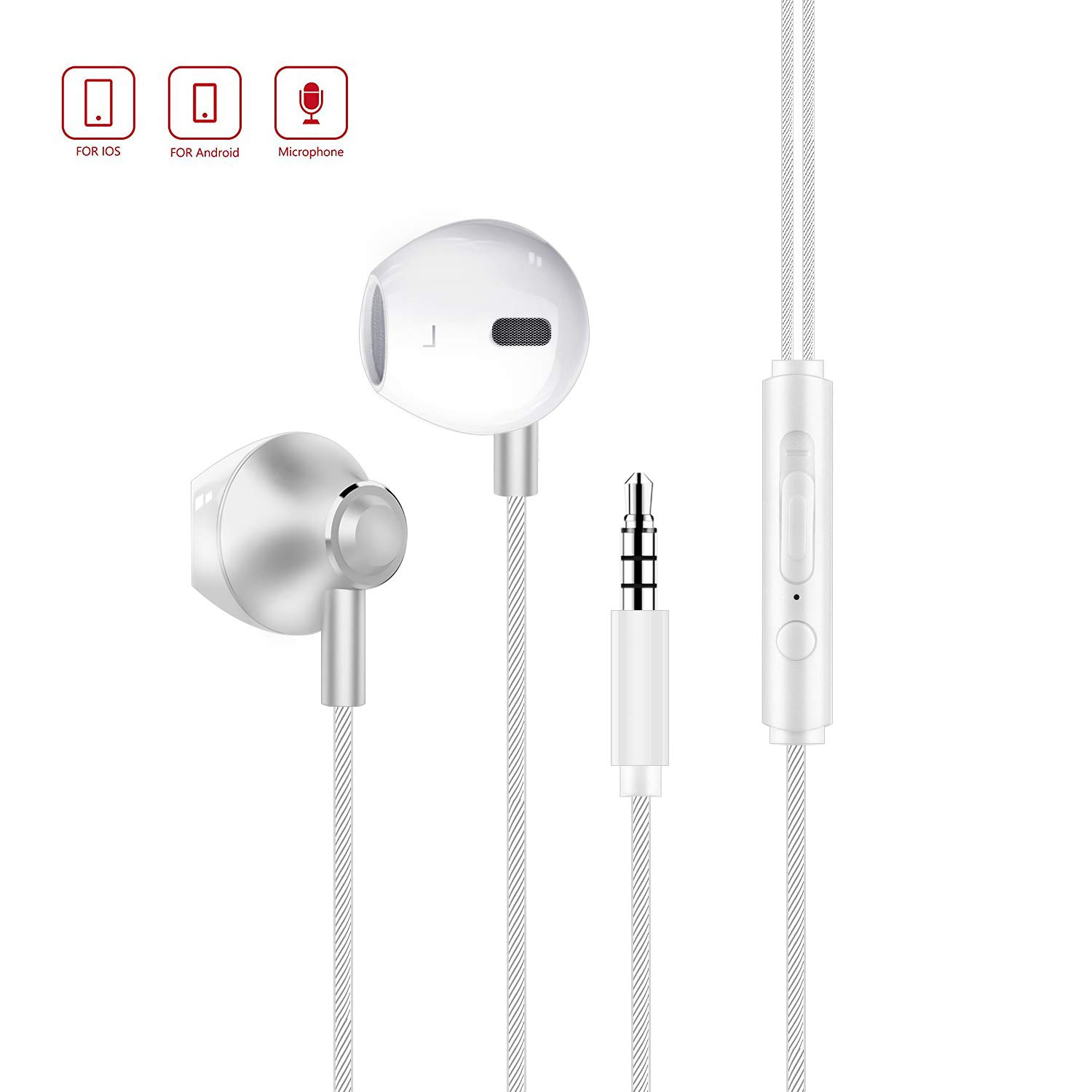 Wired Earbuds Senhomtog in-Ear Earbud Headphones Noise isolating Powerful Bass Metal Earbuds with Microphone Lightweight Sport Earphones Compatible with I Phone Android and More 3.5 mm Devices White