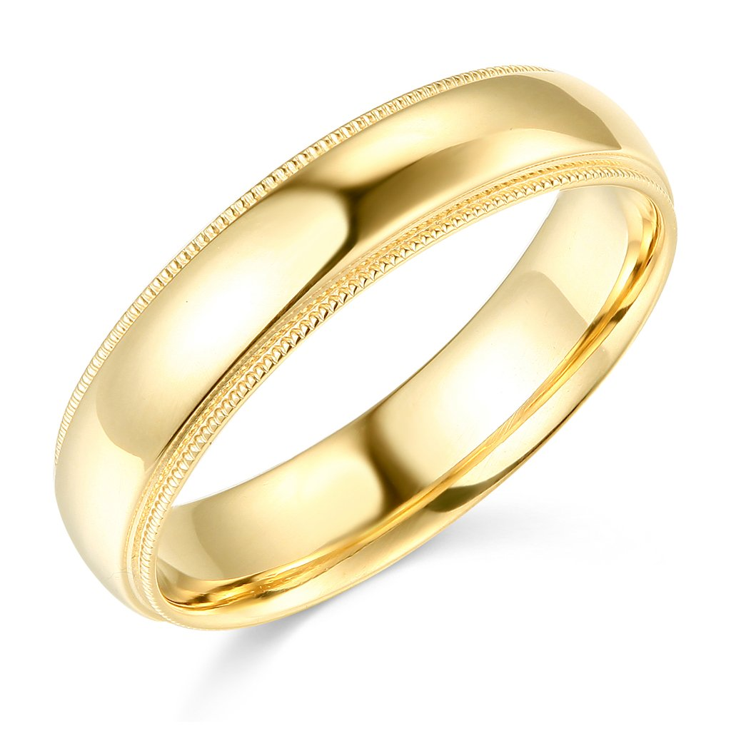 14k Yellow Gold 5mm Plain Milgrain Wedding Band - Size 7.5